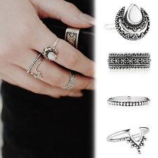 4PCS New Silver Punk Vintage Ring Womens Retro Finger Rings Set Boho Style