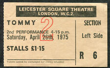 The Who Tommy movie Ticket Stub 1975 Leicester Square Theatre London