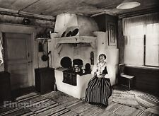 1924 Vintage SCANDINAVIA Photo Art Sweden Leksand Woman Fashion House Interior