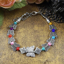 HOT Free shipping New Tibet silver multicolor jade turquoise bead bracelet S48B