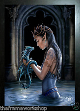 ANNE STOKES BLACK FRAMED WATER DRAGON - 3D PICTURE 300mm x 400mm