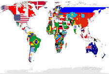 Map Of World With Flags In Relevant Countries, Isolated On White Backg... Poster