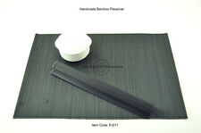 4 Fine Quality Handmade Bamboo Placemats Table Mats, Large Size, Black PJ011