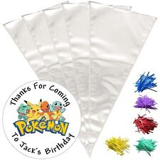 24 Personalised Pokemon Birthday Do It Youself Sweet Cone Party Bags DE2