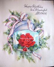 Vtg Greeting Card CORSAGE Satiny  BIRTHDAY Mother Floral