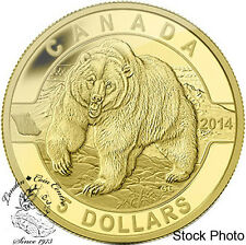 Canada 2014 $5 Grizzly Bear Pure Gold Coin