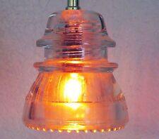 Vintage Hemingray #42 Glass Insulator w Candelabra Socket Pendant Light CLEAR