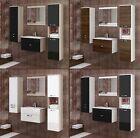 5tlg BADMÖBEL SET HOCHGLANZ/MATT +Waschbecken +Spiegel Gäste WC Badezimmer Möbel