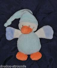 Peluche Doudou Canard NATTOU JOLLYMEX Blanc Bleu Orange 13 Cm TTBE