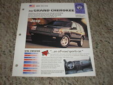 USA 1993-1998 Jeep Grand Cherokee Hot Haulers Group 6 # 11 Spec Sheet Brochure