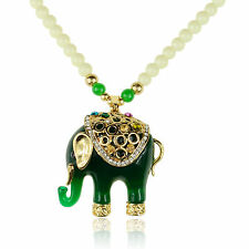 Flossy Crystal Jade Green Acrylic Beads Elephant Chain Charm Pendant Necklace