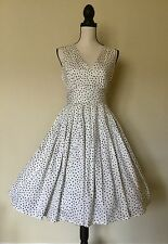 NWT 50's Vintage Style Pinup Swing Twirl Tiny Bows Print Dress Small.