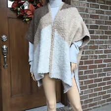 NWT ZARA THREE TONE KNIT CAPE ITALIAN YARN COAT PONCHO 6771/129_One size M