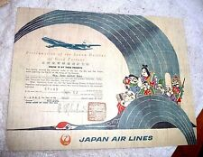 VINTAGE CERTIFICATE JAPAN AIRLINES CROSS INT DATE LINE MIYAJIMA USAGI 1963