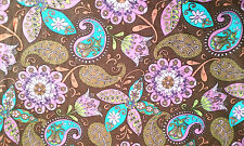 Psychedelic Paisley Boho Girl Print on Brown Cotton Fabric BTY