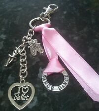 I Love Ballet dance pink keyring key chain handbag bag charm - handmade & unique