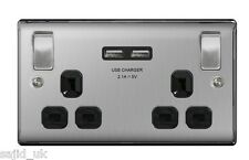 BG Nexus 2 Gang 13a Switched Twin Socket with USB Charger Ports - Brushed Steel