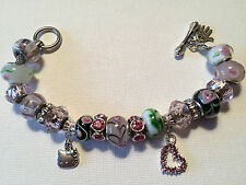Hello Kitty Pink ~ Woman Handmade Silver Plater European Charm Bracelet
