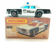 Matchbox Lesney Superfast Series #10 Plymouth Police Car Blue Windows