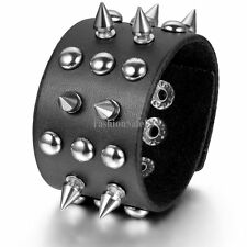 Rivets Gothic Punk Rock Mens Leather Straps Pointed Cone Cuff Wristband Bracelet
