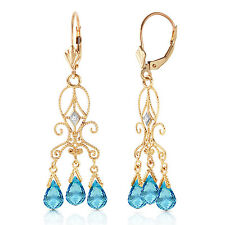 4.81 Carat 14K Solid Gold Chandelier Diamond Earrings Blue Topaz
