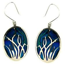 "MOP Blue Shell 925 Sterling Silver Earrings 1-3/4"" from Bali Indonesia"