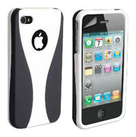 Stylish Grip Series Black White Hard Cover Case For iPhone 4 4S + Screen Guard