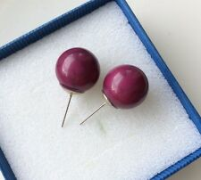 Vintage Style Purple Oversized Ball Stud Earrings Costume Jewellery