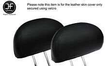 BLACK STITCH 2X REAR HEADREST LEATHER COVERS FITS HONDA CIVIC & TYPE R 01-05