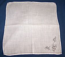 VINTAGE COTTON LADIES HANDKERCHIEF-HANKY-WHITE WITH BLACK EMBROIDERY/STITCHING