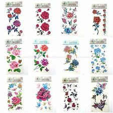12 sheets/lot rose flower butterfly wholesale bulk temporary tattoo stickers