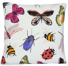 Insects and Bugs Cushion Cover Butterflies Pillow Case Printed Cotton Fabric B