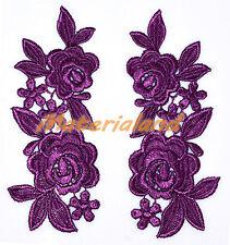 PAIR of Deep Purple Guipure Venise Lace Applique Trims Flower Motif Craft VL12F