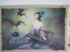 sinnliche Shakti Akt Busen in Seide, macht Musik Buddha Gemälde Tibet ~1975 92cm