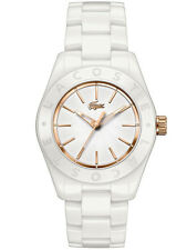 Lacoste Biarritz Women's Rose Gold & White Ceramic Watch New & Authentic 2000730