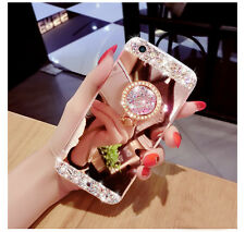 Bling Diamond Crystal Ring Holder Kickstand Mirror Case Cover For Various Mobile