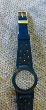 Vintage Omega Ladies Dynamic blue  Leather Watch Strap & Omega plaque g.  Buckle
