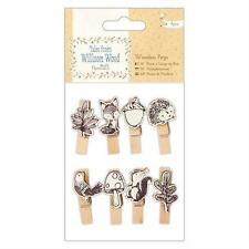 8 TALES FROM WILLSON WOOD SMALL WOODEN NATURE PEGS CARD MAKING EMBELLISHMENTS