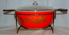 Pyrex GOLDEN LEAF* RED CHRISTMAS HOLLY* 4 qt BOWL & LID w/CRADLE* #404*