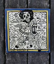 Dias de Los Muertos Catrina Tile after Jose Guadalupde Posada Mexican Folk Art