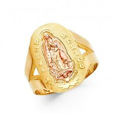 EJLRRG1758 - Solid 14K tricolor gold Reyna de Mexico Guadalupe ring