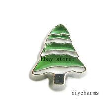 10pcs FC1105 Christmas Tree Floating Charms Fit Living Locket Free Shipping