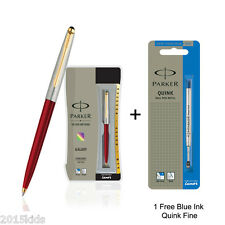 Parker Galaxy Gold Trim Ball Pen Red Body +1 Flow Fine Blue Ink - Fast Shipping