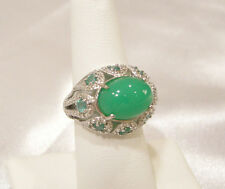 Chrysoprase, Emerald, Diamond Estate Ring, Platinum/925 Sterling, Size 8, New