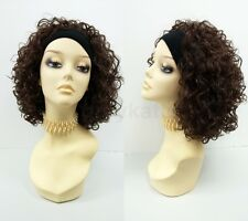 Short Curly Dark Brown & Dark Copper Highlights Headband Wig Heat Resistant 13""