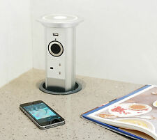 M4TEC™ Pop Up Socket | Motorised Power Socket. Built-In USB Cell Phone Charger