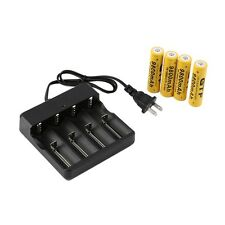 4x 18650 3.7V 9800mAh Protected Li-ion Battery + Universal US Stop Charger LO