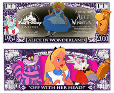 Alice in Wonderland Million Dollar Collectible Funny Money Novelty Note