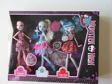 Monster High  Dot Dead Gorgeous Abbey, Draculaura, & Ghoulia 3 Pack