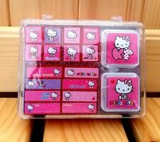 Sanrio Hello Kitty Cute Stamp Set W/ 2 Color Inks and Plastic Case - Pink